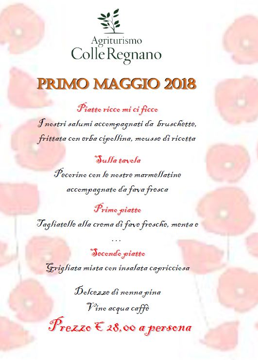 Menù Primo Maggio 2018