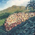 Panorama di Fiuggi - olio su tela cm. 50x40