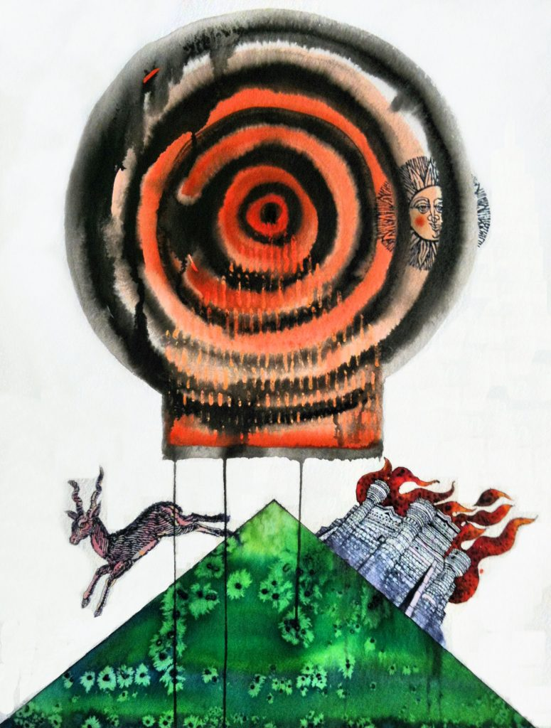 Trubbiani, Fuggire il pericolo - opera su foglio cm. 76x56