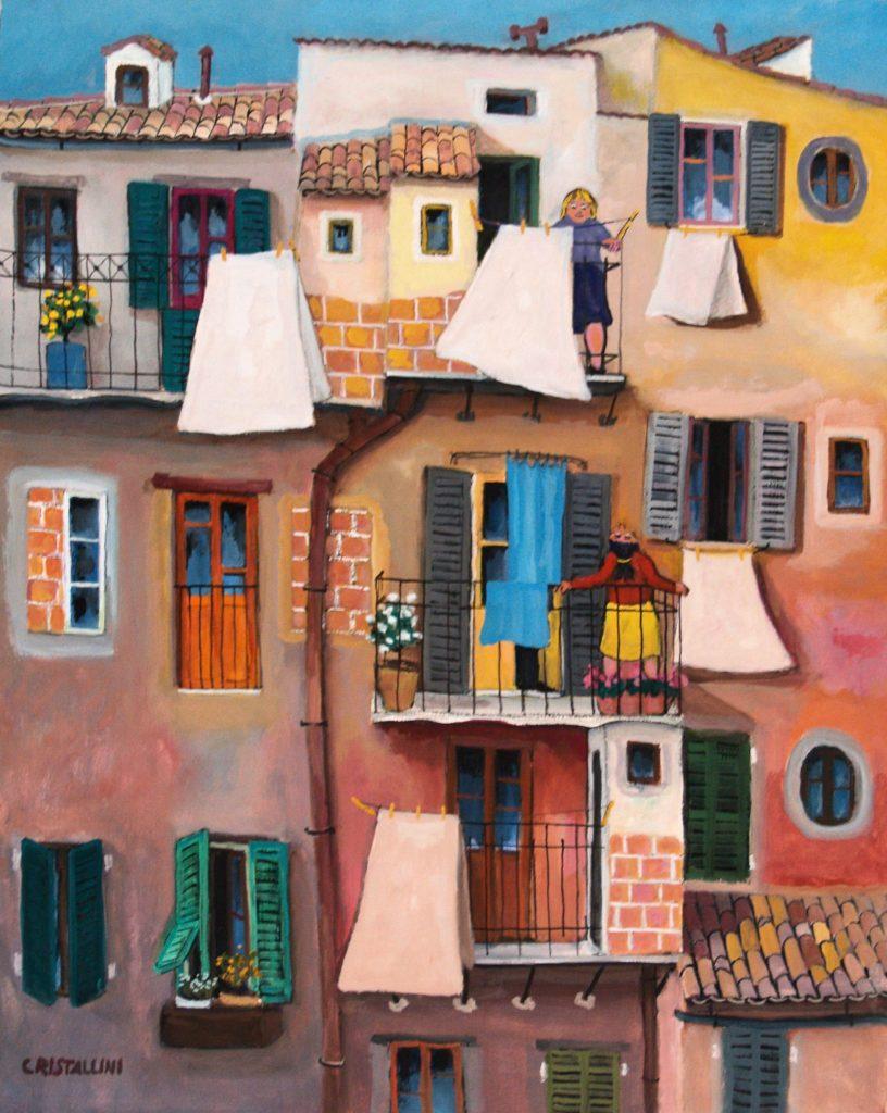 Cristallini - Tetti e balconcini, tempera su cartoncino cm. 50x40