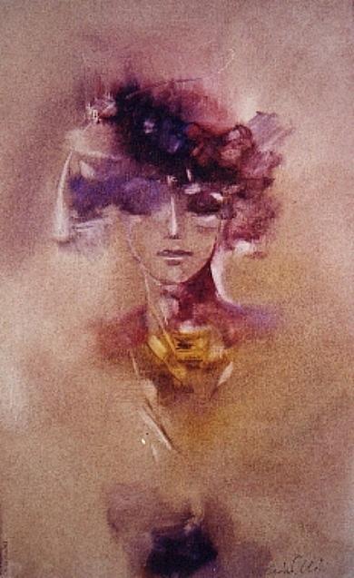 Femminile - tecnica mista su cartoncino cm. 48x29