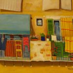 Cristallini - balconcini con tenda gialla, tempera su cartoncino cm. 50x70