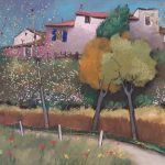 Cristallini - casolari in campagna, tempera su cartoncino cm. 50x70