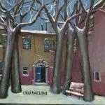 Cristallini - il cortile della scuola,tempera su cartoncino cm. 30x40