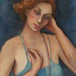 Cristallini - figura femminile, tempera su cartoncino cm. 55x40
