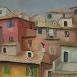 Cristallini - la casa rosa, tempera su cartoncino cm. 50x70