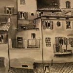 Cristallini - tetti e balconcini,tempera su cartoncino cm. 50x70