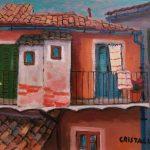 Cristallini, tetti e balconcini, olio su cartone telato cm. 18x24
