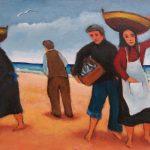 Cristallini, pescatori a Portorecanati, olio su cartone telato cm. 20x30