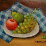 Cristallini, natura con frutta, olio su compensato cm. 24x30