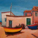 Cristallini, la marineria, olio su cartone telato cm. 30x40