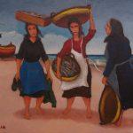 Cristallini, pesciaiole a Portorecanati, olio su cartone telato cm. 30x40