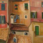 Cristallini, tetti e balconcini, olio su tela cm. 60x50