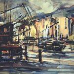 Massetani - Il porto, 1968 - olio su cartoncino cm. 50x70