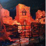 Massetani - il cancello, 1972 - olio su cartoncino cm. 70x50