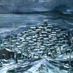 Massetani - la nevicata, 1971 - olio su cartoncino cm. 50x70