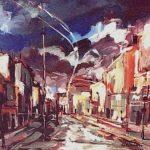 Massetani - paesaggio urbano, 1970 - olio su cartoncino cm. 70x50