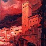 Massetani - Paesaggio in rosso, 1972 - olio su cartoncino cm. 70x50