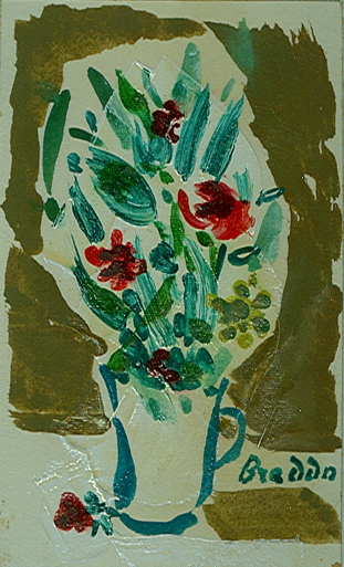 Breddo Gastone - Vaso di fiori -tecnica mista su carta cm. 17,7 x 11,5