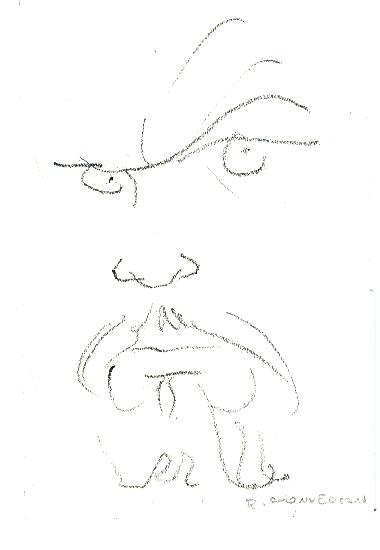 Conversano - Volto, disegno su carta cm. 17,5x12