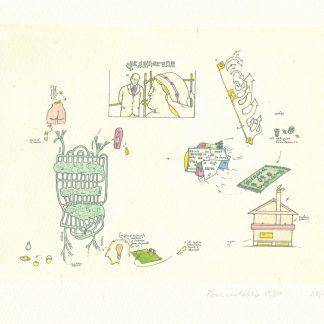 Baruchello - Senza titolo, 1984Incisione acquerellata a mano cm. 14X18,5 - Esemplare n° 25/45