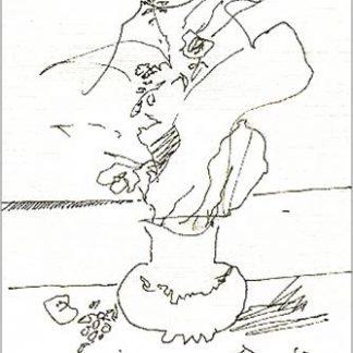 Breddo Gastone - Vaso con mani - disegno su carta cm. 17,5 x 12,2