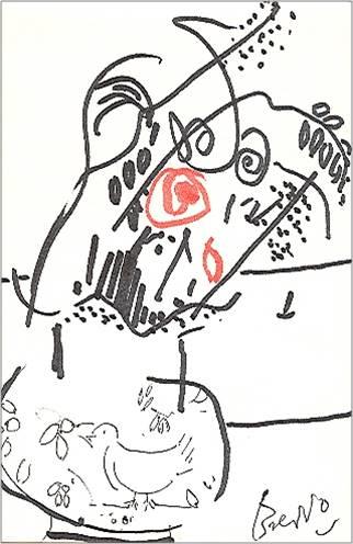 Breddo Gastone - Vaso di fiori con colomba - tecnica mista su carta cm. 16,8 x 11