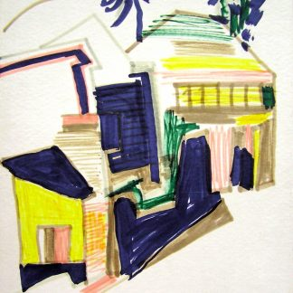 Gentilini - Borgo, Pennarello su carta cm. 30x24