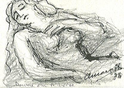 Margotti - Donna, Disegno su carta cm. 11,7x16,8