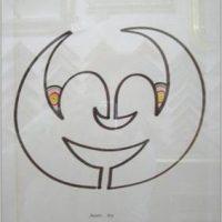 BRUNO MUNARI, Viso 1970 - disegno su cartone cm. 26x32