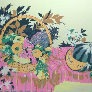 Tosatti - cesto di frutta con mele verdi - serigrafia a 10 colori su foglio cm. 60x80