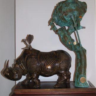 Trubbiani Valeriano, Rinoceronte 1991 - Bronzo,rame e argento unico esemplare