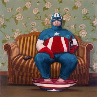 Pareschi, Capitan America - stampa fine art su carta gr. 300 mis. cm. 33×33 firmata e numerata dall'artista. Tiratura: 100 numeri arabi