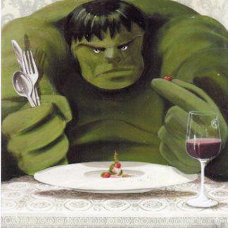 Pareschi, Supereroi in crisi, un assaggio di quello che verrà… Hulk- stampa su tela mis. cm. 80x70