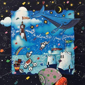 Agostini, Il mio mondo si colora di pura fantasia - serigrafia su foglio cm. 40x40