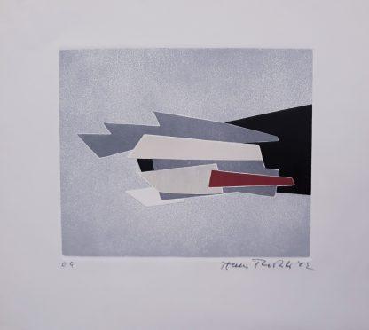 HANS RICHTER, Composizione - incisione su foglio cm. 40X44