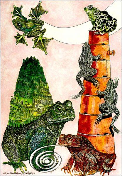 Trubbiani, Dimora delle rane - opera originale su carta cm. 120x90