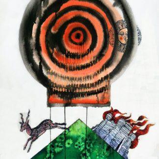Trubbiani, Fuggire il pericolo - disegno, acquerello su carta cm. 76X56