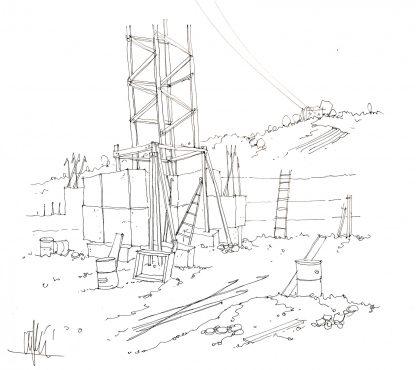 04 - Cantiere abbandonato - china su carta cm. 38x42