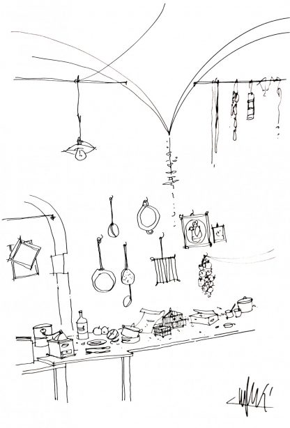 06 - La cantina - china su carta cm. 60x40