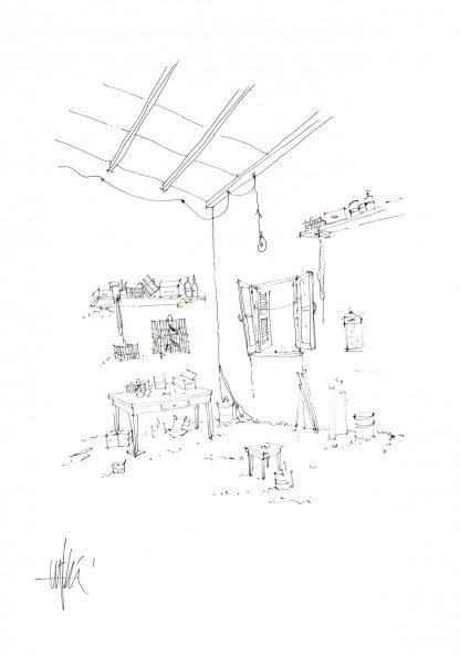 07 - l'angolo delle gabbiette - china su carta cm. 70x50