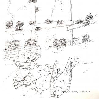 13 - La cacciagione - china su carta cm. 66x48