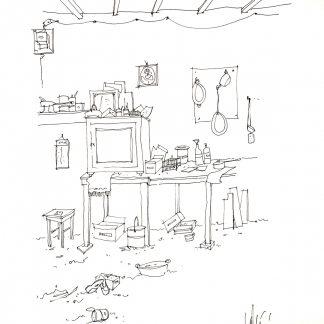 18- Un angolo del mio studio - china su carta cm. 70x50